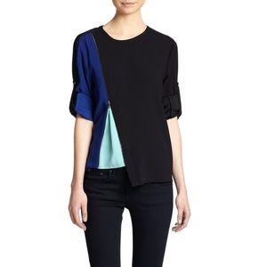 BCBG Maxazria Black Carie Zipper Colorblock Blouse